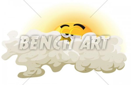 Sun Character Asleep Inside Clouds