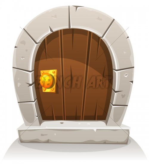 Cartoon Hobbit Wood And Stone Door