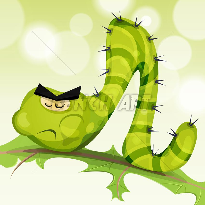 Comic Caterpillar Character Chewing Salad Leaf