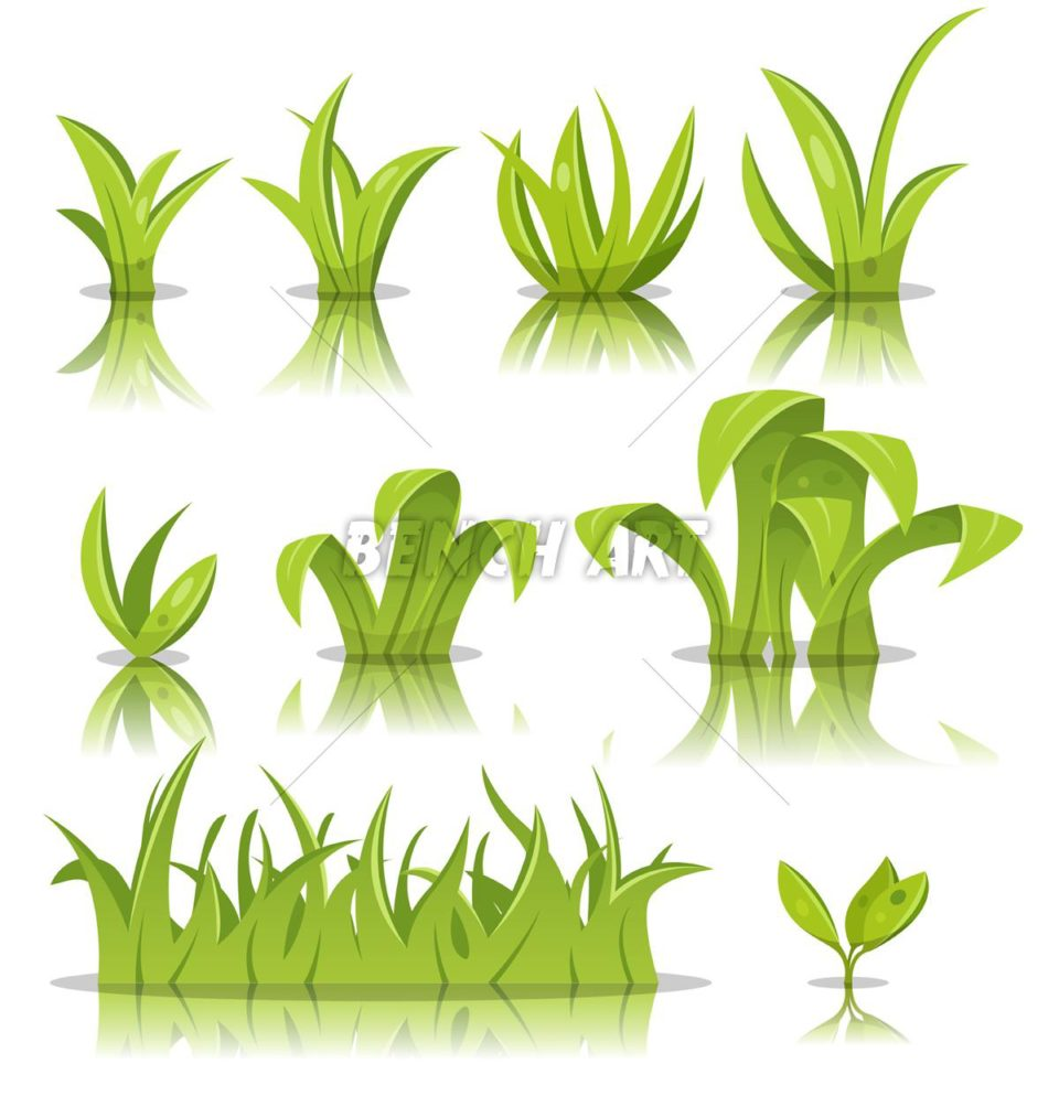 Cartoon Grass Leaves Set