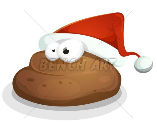 Cartoon Dog Dung With Santa Hat