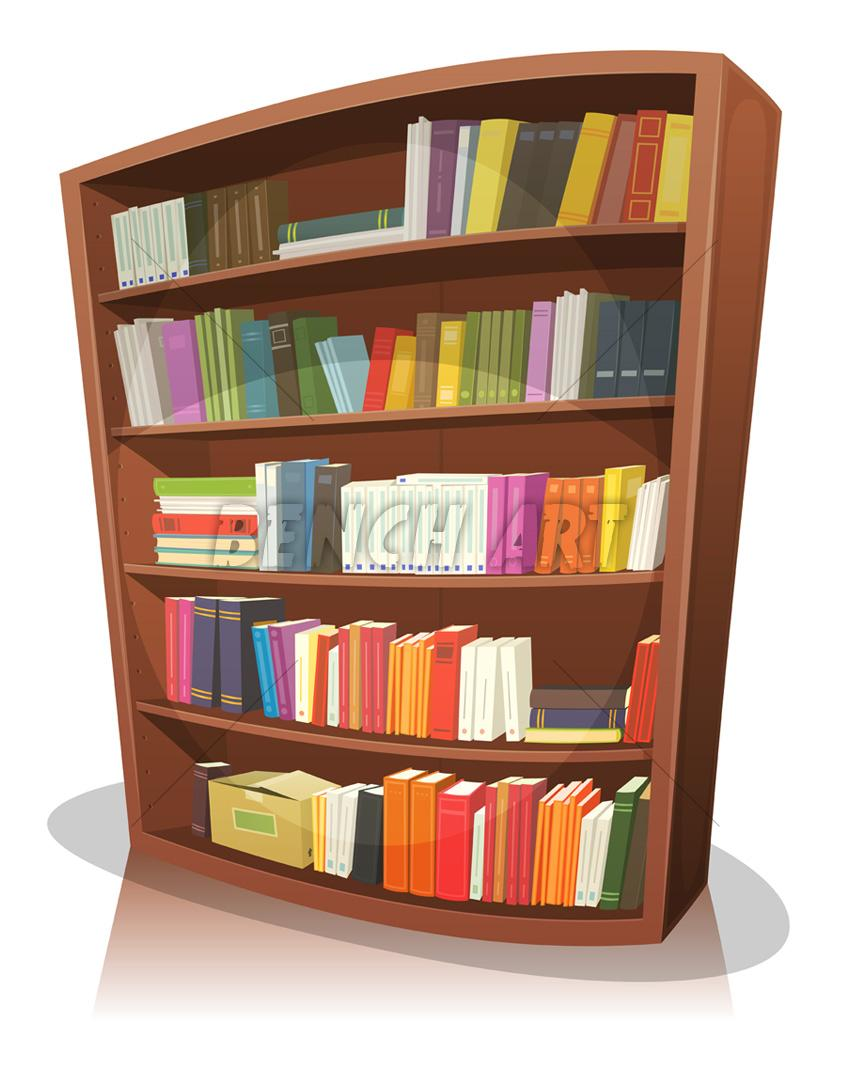 Cartoon Library Bookshelf