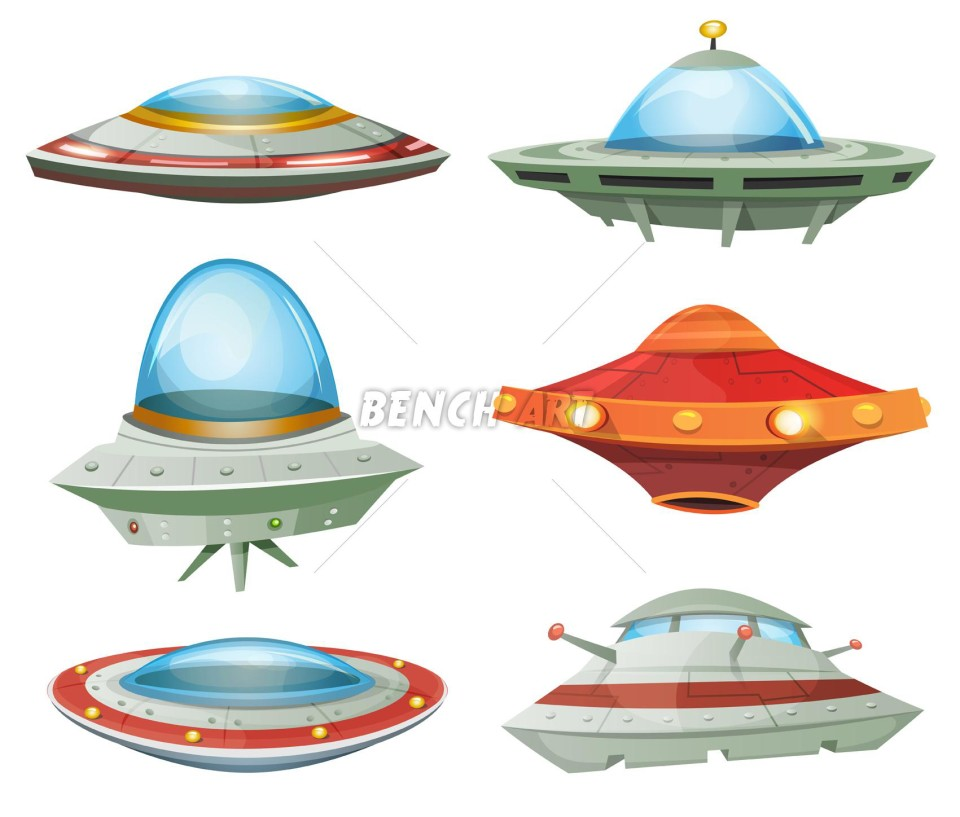 Comic UFO And Alien Spacecrafts Set