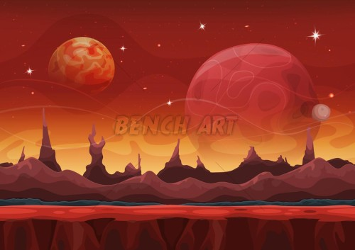Alien Comic Seamless Landscape For Ui Game