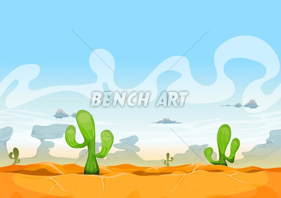 Seamless Mexican Desert Landscape For Ui Game